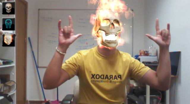 Kinect Face Tracking demo with mouth control - Skulls App